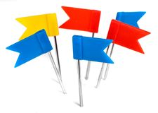 Color flag pins photo, marker push pin royalty free stock photography