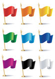 Color flags. Vector illustrations of flags of nine various colors Stock Photos