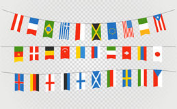 Color flags of differemt countries on transparent. Background Stock Photo