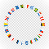 Color flags of differemt countries on transparent. Background. Vector circle composition Royalty Free Stock Photos