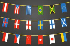Color flags of differemt countries on transparent Royalty Free Stock Images