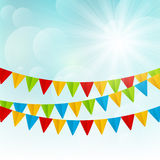 Color flags on sunny background. Color flags on sunny sky background Royalty Free Stock Photography