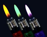 Color flame. 3 lighter color light flame Royalty Free Stock Photography