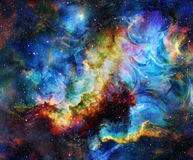 Color flame in space. Cosmic space and stars, color cosmic abstract background. Royalty Free Stock Photo