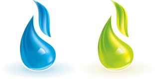Color flames. Illustration of green and blue flames. Easy to change global colors in vector archive Stock Photography