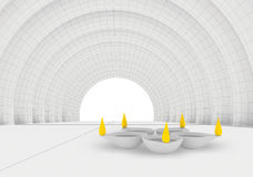 Color flames and rest white diya in 3d Royalty Free Stock Images