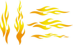 Color flames (Vector). Colored vector flames illustration on white background Royalty Free Stock Photos