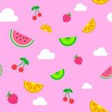 Flat art simple vector pink summer fruit seamless pattern royalty free illustration