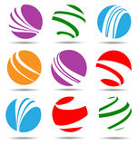 Color flat ball shaped icon collection Stock Images