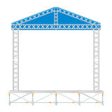 Color flat design sectional concert metal stage with roof Stock Photography