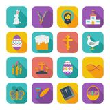Color flat Easter Icons. Royalty Free Stock Images