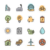 Color flat ecology energy icon set, vector eps10 Stock Images