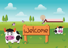 Color flat farm of cows stand in green field with welcome wooden board. Suitable for animal,agriculture,farm and livestock design jobs, illustration Stock Photos