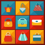 Color Flat Icon of Fashion bag Stock Image