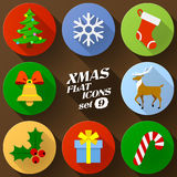 Color flat icon set of christmas elements Royalty Free Stock Photo