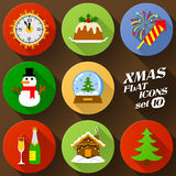 Color flat icon set of christmas elements. Pack of symbols for new year holiday. Qualitative vector graphics for christmas, new year's day, winter holiday Royalty Free Stock Image