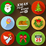 Color flat icon set of christmas elements Royalty Free Stock Photography