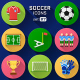 Color flat icon set of soccer elements Stock Photo