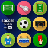 Color flat icon set of soccer elements Royalty Free Stock Photo