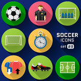 Color flat icon set of soccer elements Royalty Free Stock Photos