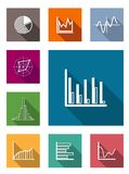 Color flat icons for various types of diagrams. Color square flat icons with shadow for various types of diagrams as vertical and horizontal bars, pie and line Royalty Free Stock Image