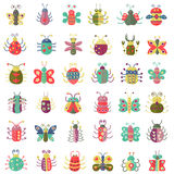 Color flat insects icons set. Simple flat Butterfly, bugs collection. Royalty Free Stock Photo