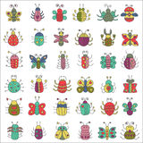 Color flat line insects icons set. Butterfly, bugs collection. Color flat line insects icons set. Butterfly, bugs collection Stock Photo