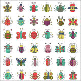 Color flat line insects icons set. Butterfly, bugs collection. Color flat line insects icons set. Butterfly, bugs collection Stock Photos