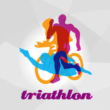 Color flat logo triathlon. Vector figures triathletes Royalty Free Stock Photography