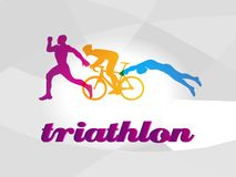 Color flat logo triathlon. Vector figures triathletes Royalty Free Stock Photo