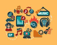 Color flat music icons set Stock Photo
