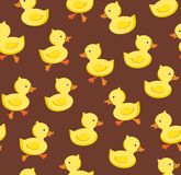 Ducklings, seamless pattern, color, brown, vector. Color, flat picture. Vector, flat seamless background royalty free illustration