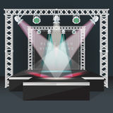 Color flat podium stage banner back lights truss illustration Stock Photography