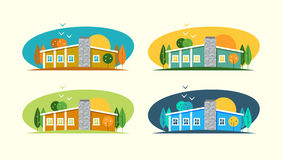 Color flat set and illustrations urban and village landscapes with a house. Various buildings house: modern house, cottage, wooden country house, English brick vector illustration