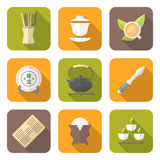 Color flat style chinese tea ceremony equipment icons set Stock Photo