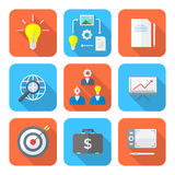 Color flat style creative business process icons set Stock Photos
