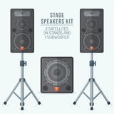 Color flat style loudspeakers on stands and subwoofer illustration Royalty Free Stock Photos