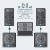 Color flat style loudspeakers on subwoofer and amplifiers illustration Royalty Free Stock Photo