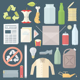 Color flat style separated waste icons and signs Stock Images