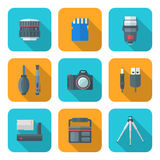 Color flat style square digital photography tools icons Stock Photo