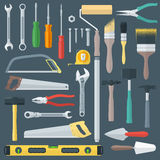Color flat style various house remodel instruments set Stock Photo