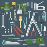Color flat style various house remodel instruments set. Vector colored various flat design house repair tools instruments set Stock Photos