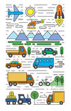 Color flat transportation. Vector color flat transportation icons on white Royalty Free Stock Image