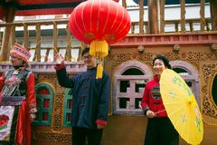 Color float and dragon in chinese new year parade stock images