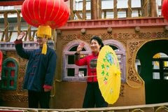 Color float and dragon in chinese new year parade royalty free stock photo