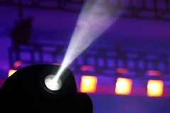 Color floodlight to illuminate glow in the dark. The color floodlight to illuminate glow in the dark. equipment for show programs stock image