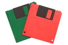 Color floppy diskettes isolated on white background royalty free stock photos