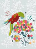 Color floral background with bird Stock Images