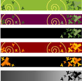 Color floral banners. 6 different color floral banners that can be used separately Stock Photography