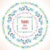 Color floral elements and frames set Stock Image